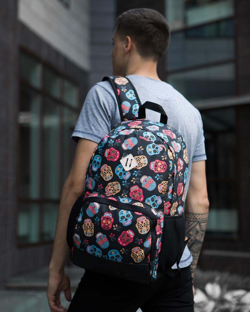 """Классный молодежный подростковый рюкзак """"Амбиции """"Разноцветные черепа"""""""" черный"""