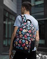 """Классный молодежный подростковый рюкзак """"Амбиции """"Разноцветные черепа"""""""" черный, фото 1"""