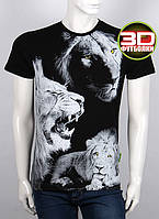 Качественная мужская футболка с рисунком 3Д львов  на лето