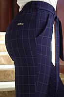 LEX №51 Летние брюки женские в клетку на резинке 46-56 темно-синие/ темно-синего цвета