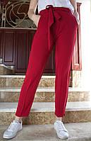 LEX №31 Брюки женские летние с поясом Женские летние 46-58 бордовые/ бордового цвета/ бордовый/ темно-красный