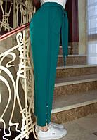 LEX №92 Яркие летние женские брюки с поясом 46-58 зеленые/ изумрудного цвета/ зеленый