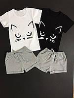Костюм летний на девочку шорты+футболка 92-116 см