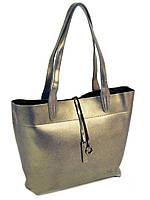 Жіноча сумка велика з натуральної шкіри з довгими ручками. Золото.