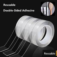 Многоразовая клейкая лента, крепежная лента. Клейкая нано-лента многоразовая Белая 3м*30мм, фото 2