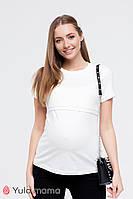 Базовая футболка для беременных и кормящих р. 42-50 ТМ Юла Мама MARGO NR-10.015 белая