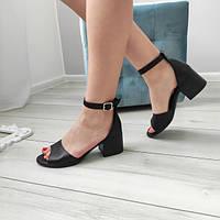 Босоніжки жіночі на каблуку чорні  натуральні шкіряні, фото 1