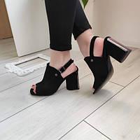 Босоніжки жіночі на каблуку чорні екозамша 37