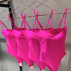 Купальник боди сдельный  с пуш-апом розовый, фото 2