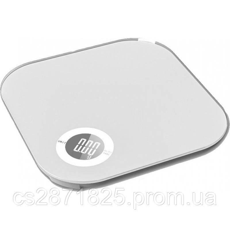 Ваги кухонні GRUNHELM KES-10W (білі) макс. вага 10кг, сенсорні, квадратні, з батареєю 1х3VCR2032, за