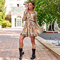 Женское весеннее платье с цветочным принтом бежевое, фото 1