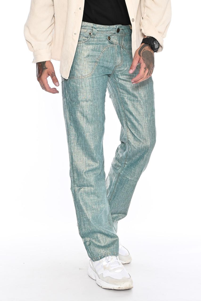 Мужские брюки Franco Benussi 1210-515 лен зеленые