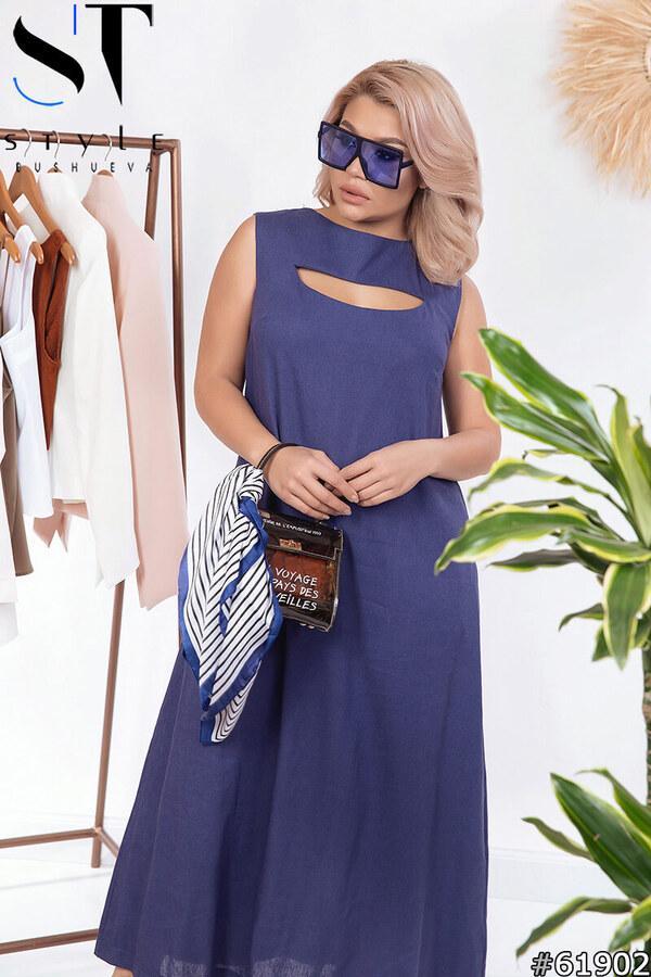 Платье женское летнее длинное льняное