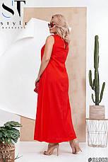 Платье женское летнее  красное длинное льняное, фото 2