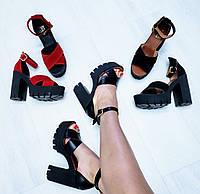 Черные женские босоножки кожаные на толстом каблуке и платформе мега удобная колодка