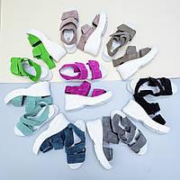 Босоножки на платформе в спортивном стиле на липучках в разных цветах натуральная кожа/замша размер 36-40