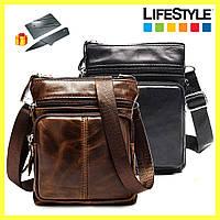 Мужская кожаная сумка - барсетка Marranti / Сумка через плечо + Подарок нож кредитка