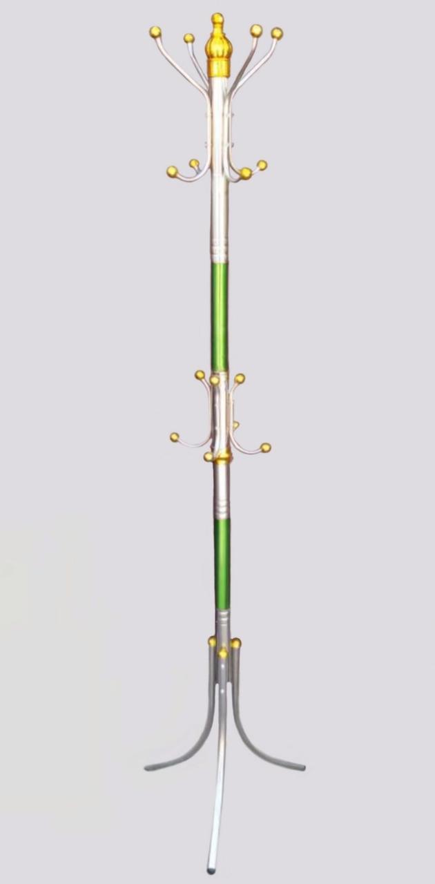 Высота 167 см, диаметр 43 см. Вешалка-стойка напольная зеленого цвета