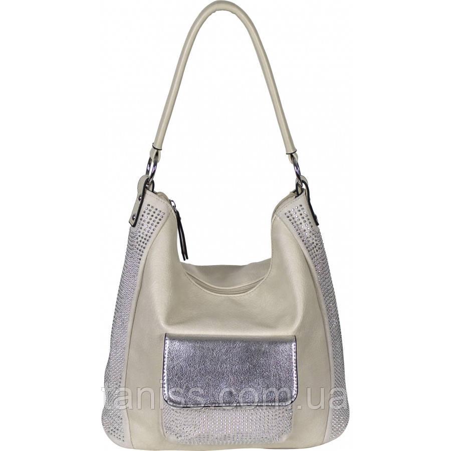 Стильная  женская сумка, ткань экокожа и замш, 1 длинная ручка,3 отделения,2 цвета (5310-1 )беж