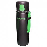 Термокружка з нержавіючої сталі 500мл GTC501, (чорне покриття)із силік.накладкою(зелений) (GRUNHELM)