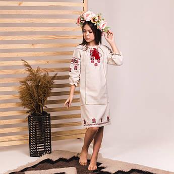 Вишита сукня Moderika Традиція на бежевому льоні