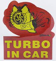 """Декоративная наклейка на автомобиль """"собака в машине TURBO IN CAR"""", на лобовое заднее стекло, кузов двери"""