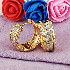 Серьги кольца Xuping Jewelry Вивьен медицинское золото позолота 18К А/В 5766