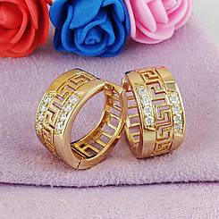 Серьги кольца Xuping Jewelry Меандровая линия медицинское золото позолота 18К А/В 5767
