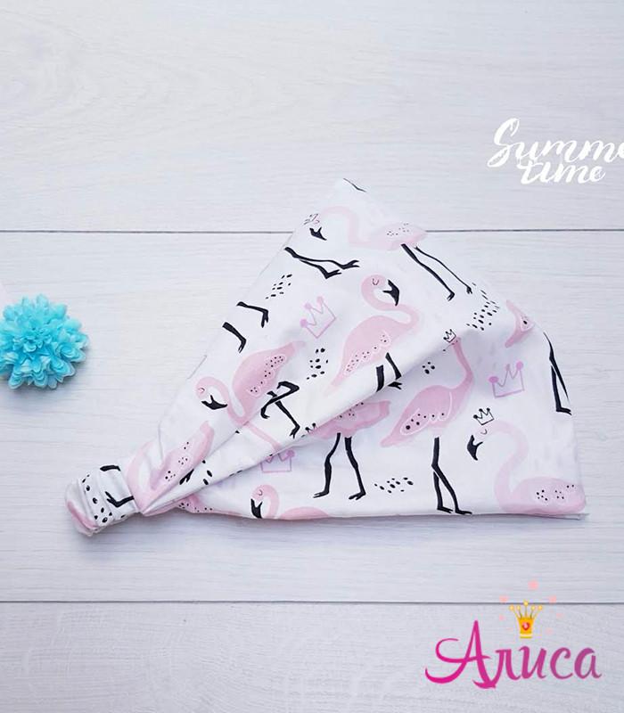 """Косынка детская хлопковая """"Фламинго розовые"""""""