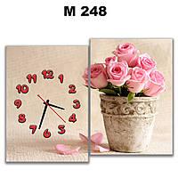 Картина часы настенные модульные для декора дома на кухню Розы в керамическом горшке 30х43 30х43 см