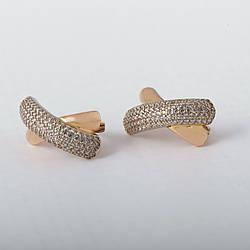 Сережки золоті доріжка з фіанітами. СП417