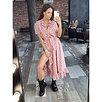 Женское летнее платье с рюшей розовое, фото 1
