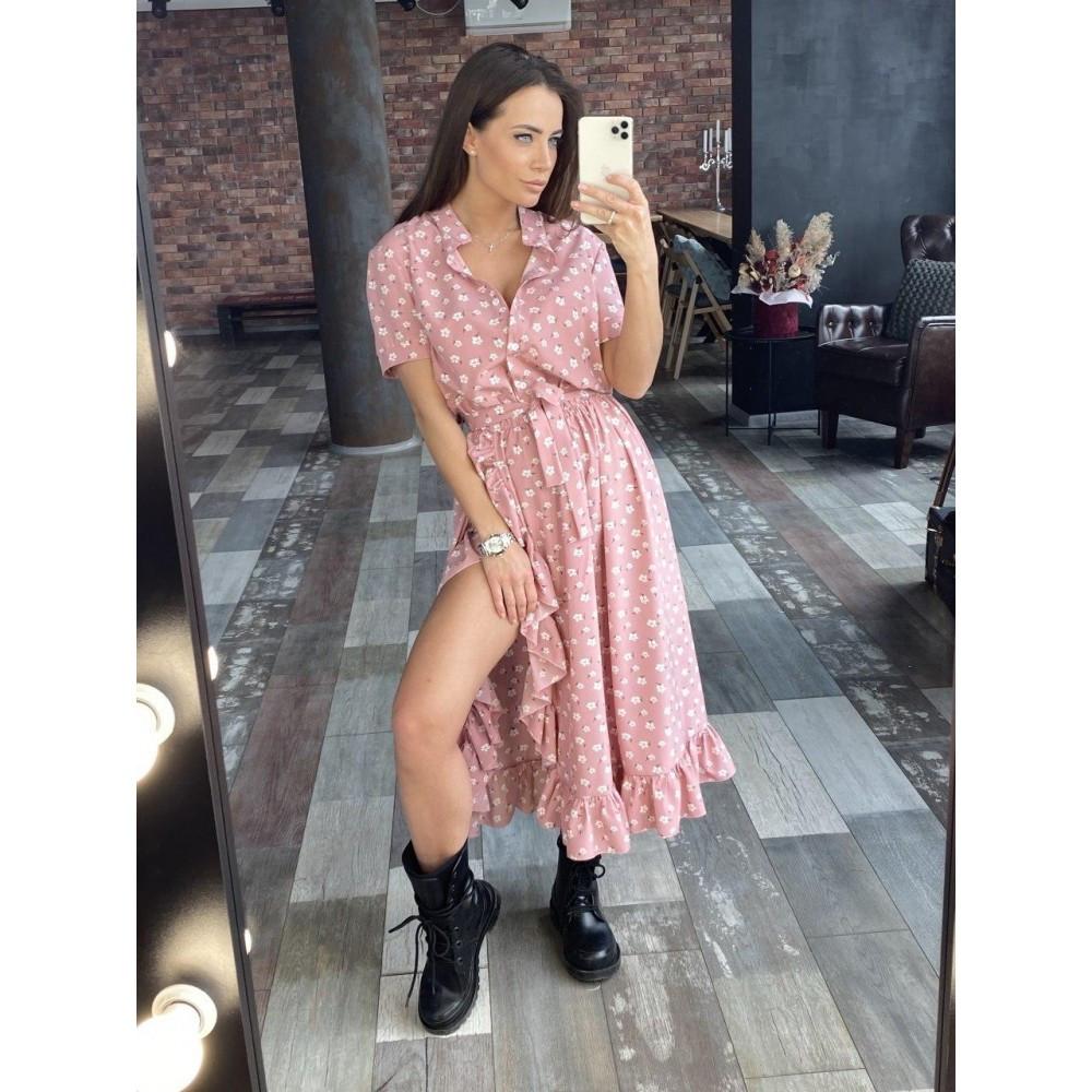 Женское летнее платье с рюшей розовое