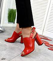 Женские красные  босоножки на каблуке Натуральная кожа Размер 35 36 37 38 39 40