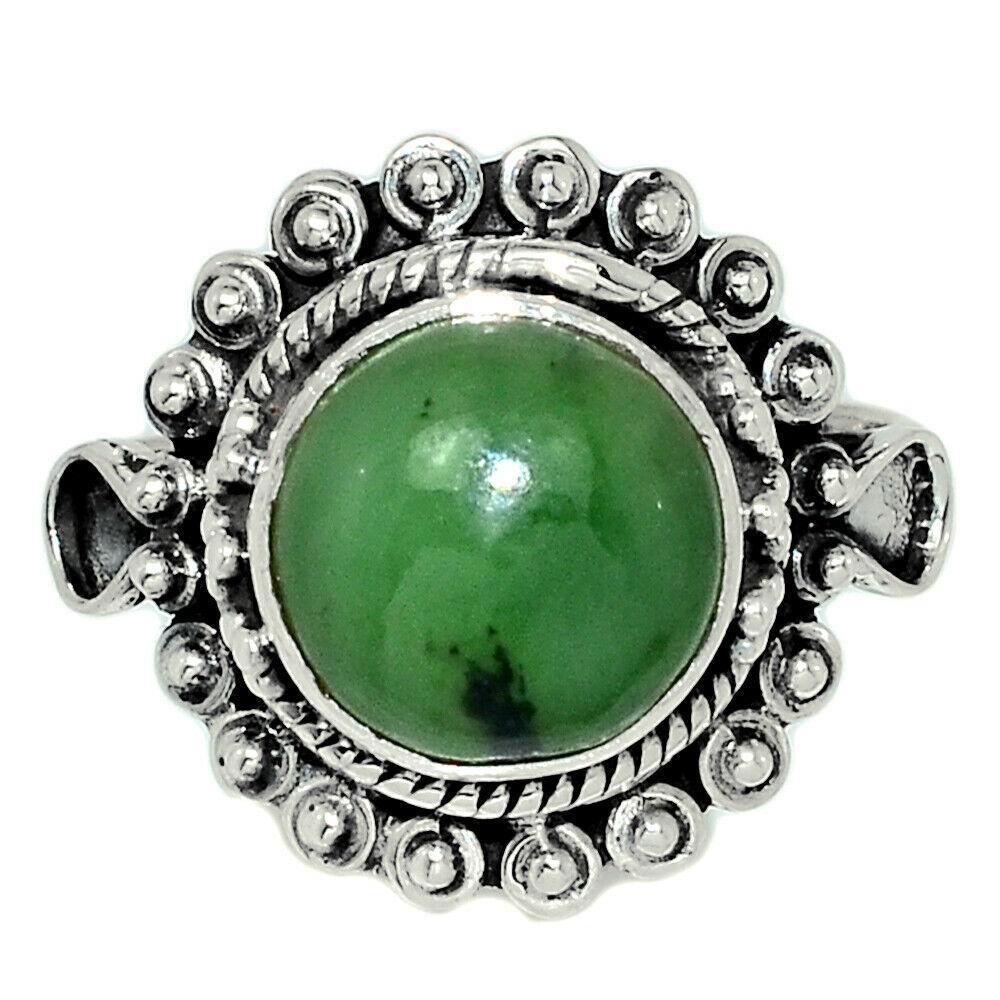 Серебряное кольцо с жадеитом Канадский нефрит, 2381КЦЖ
