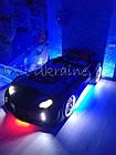 Ліжко машинка Audi чорна з відкриваються дверима, фото 3