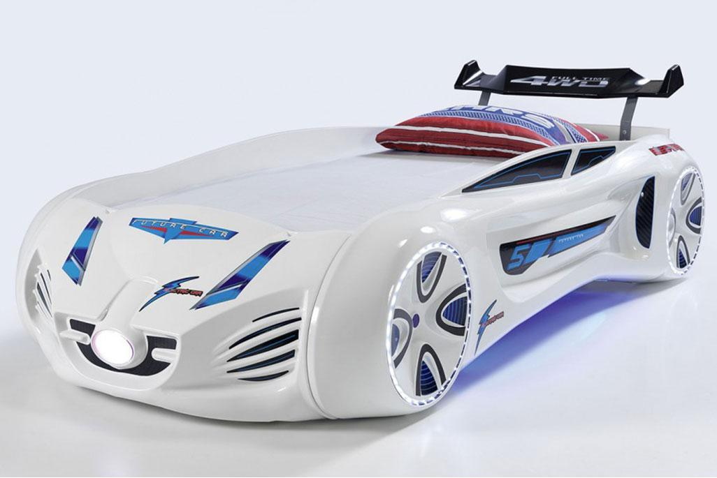 Кровать машинка Tesla Star белая Турция