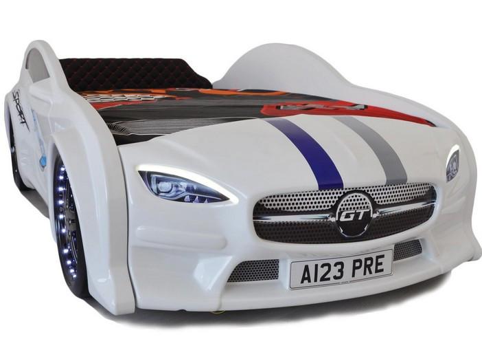 Кровать машина Mersedes GT с подсветкой 80х160 белая