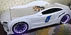 Кровать машина Mersedes GT с подсветкой 80х160 белая, фото 4