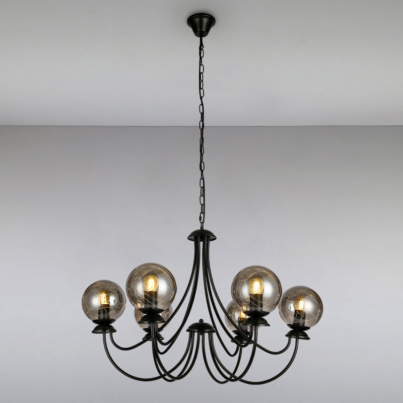 Люстра подвесная на шесть ламп LS-815060-6 BK+BK черная