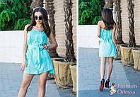 Женский красивый стильный сарафан. Ткань софт+кружева,с поясом,с двумя карманами.Прогулочный;нарядный вариант