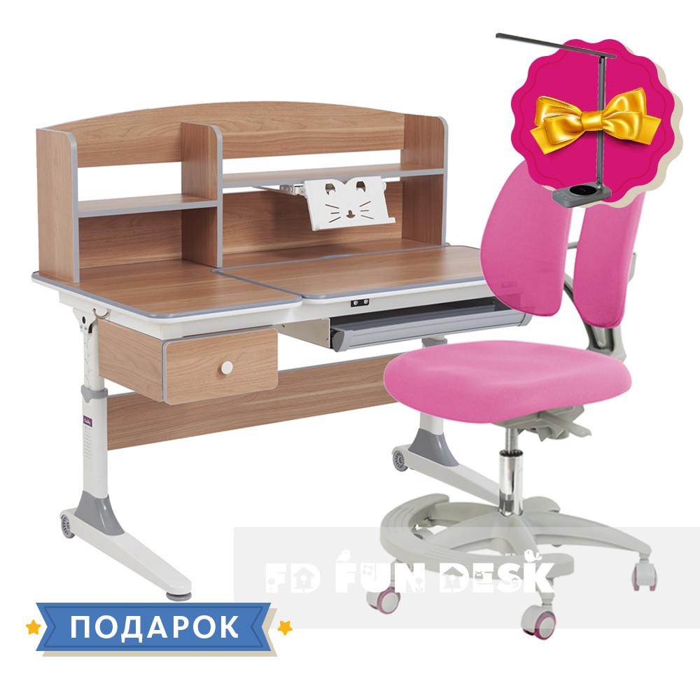 Комплект парта для принцессы Cubby Tulipa Grey+подростковое кресло FunDesk Primo Pink