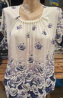 Красивая светлая блуза для женщин большого размера с коротким рукавом