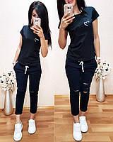 Женский комплект, турецкий трикотаж S/M/L/XL, есть большие размеры (синий), фото 1