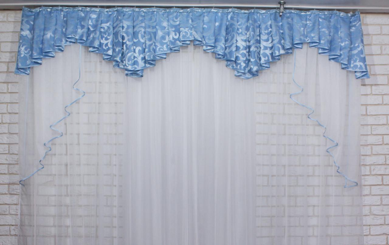 Ламбрекен из плотной ткани на карниз 2,5м. №108 Цвет голубой. Код:108л294  60-023