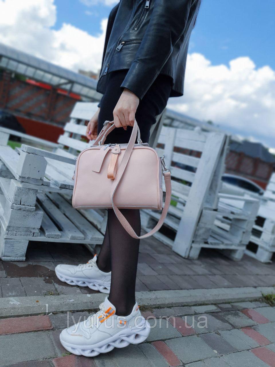 Женская кожаная сумка размером 26х20х11 см Светло-розовая (01219)