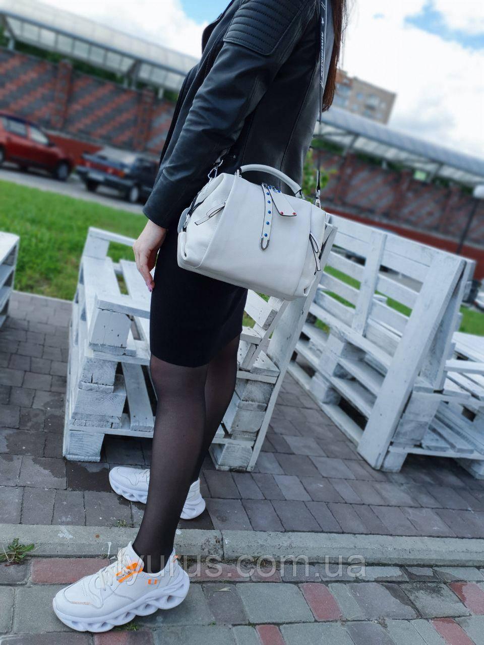 Женская кожаная сумка размером 26х20х13 см Белая (01221)