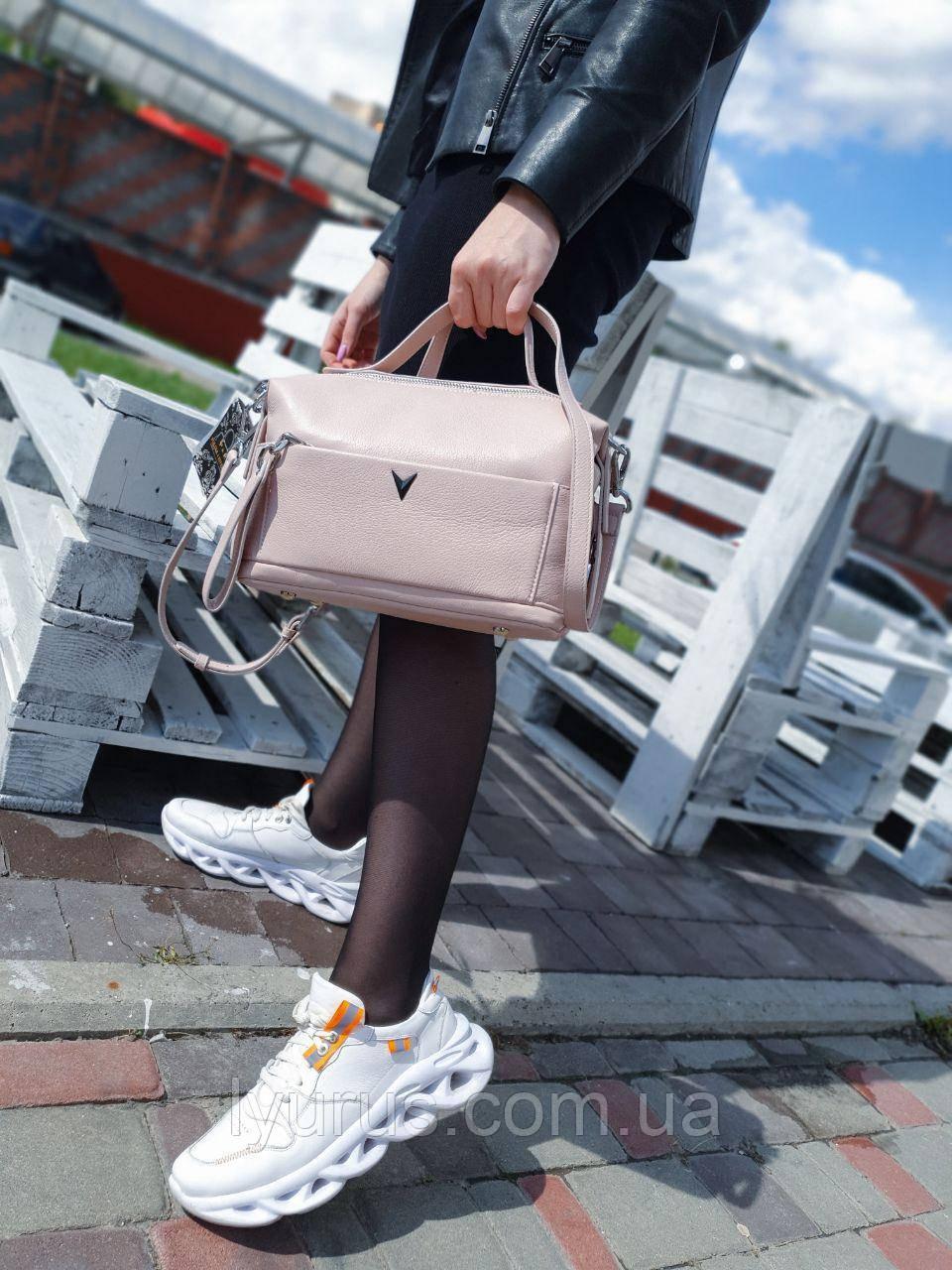 Женская кожаная сумка размером 24х16х11 см Светло-розовая (01223)