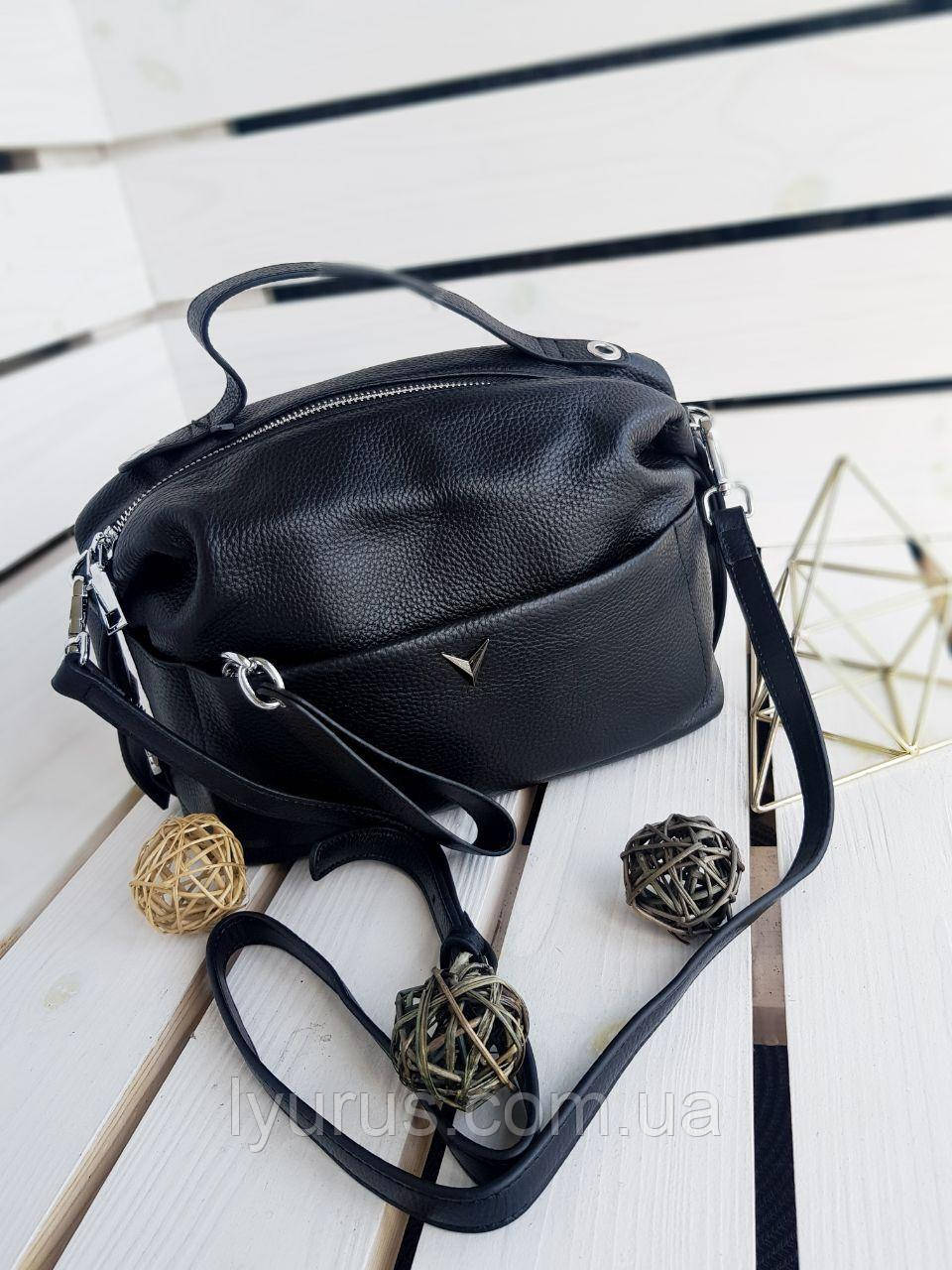 Жіноча шкіряна сумка розміром 24х16х11 см Чорна (01226)
