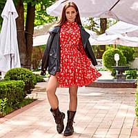Женское летнее платье с цветочным принтом красное, фото 1